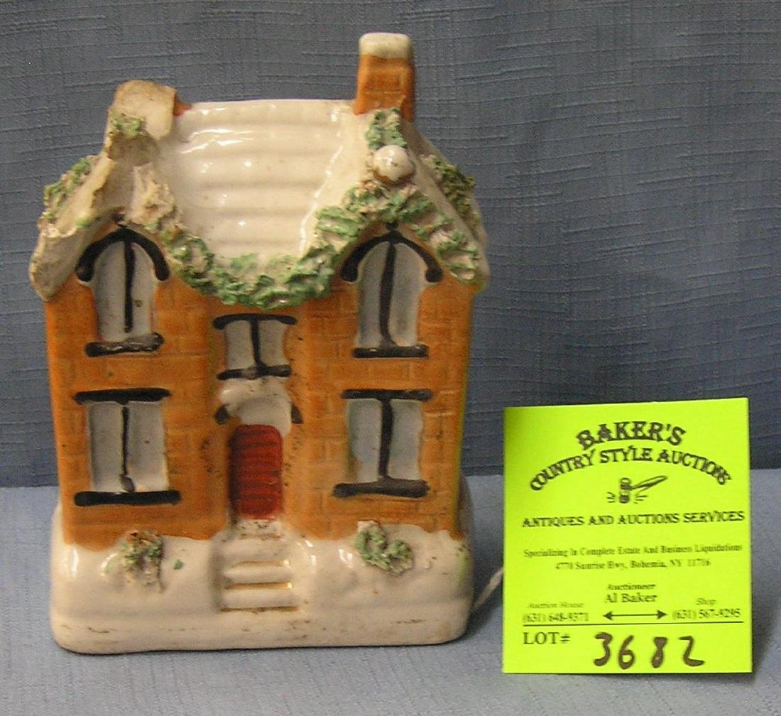 Early painted porcelain building bank