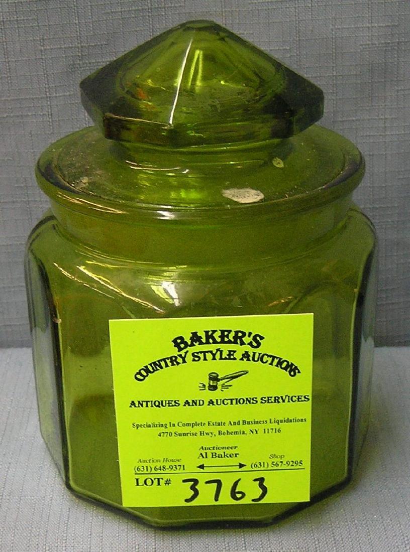 Vintage green art glass storage jar