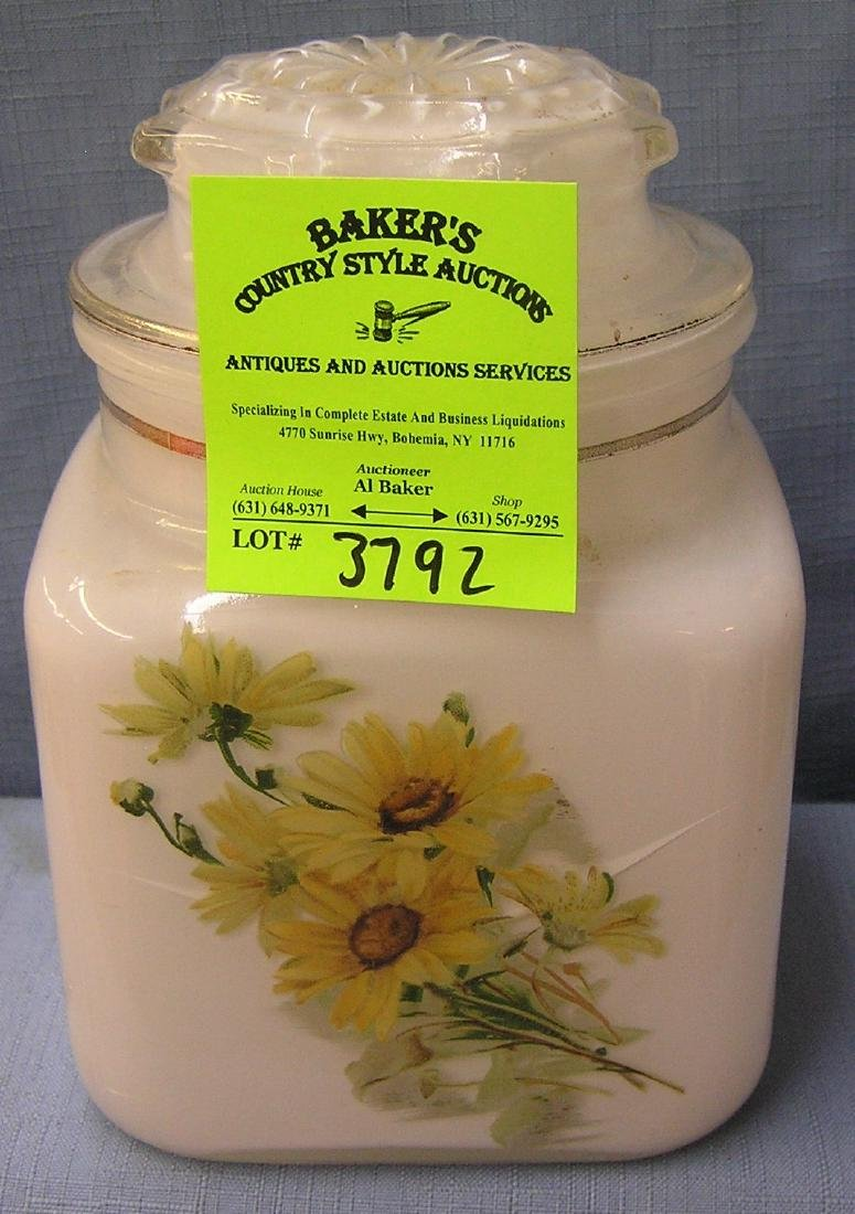 Vintage floral decorated Milk Glass storage jar