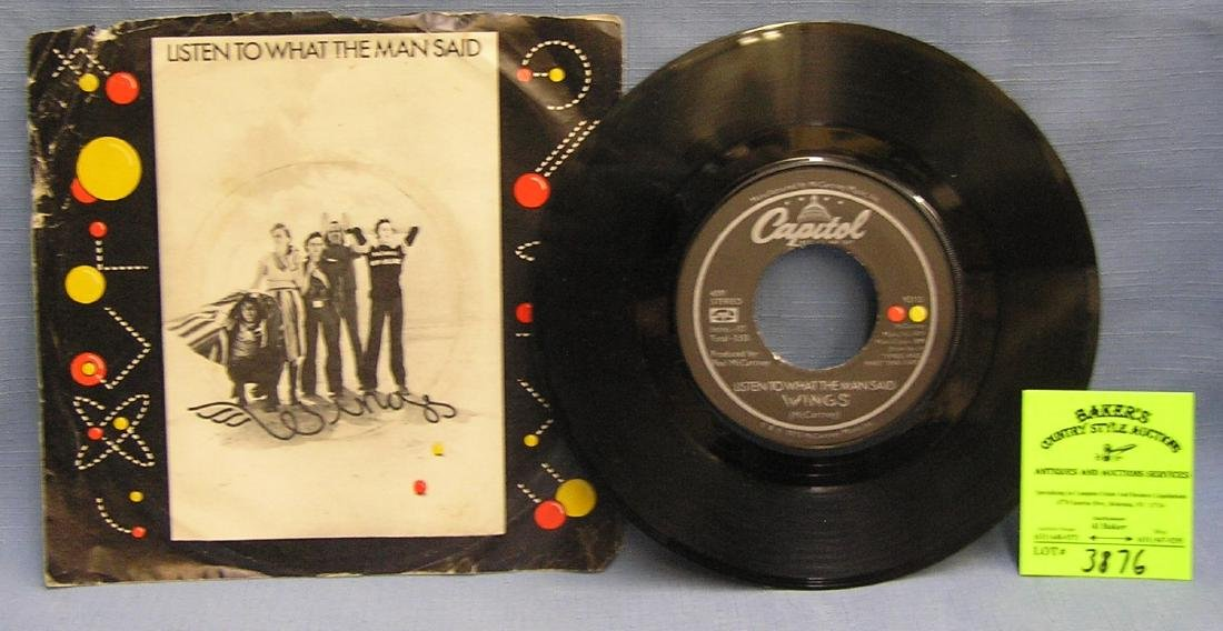 Vintage Paul McCartney and Wings 45 rpm record