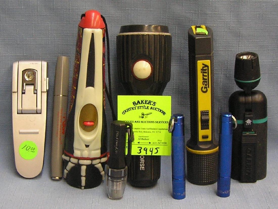 Box of vintage flashlights