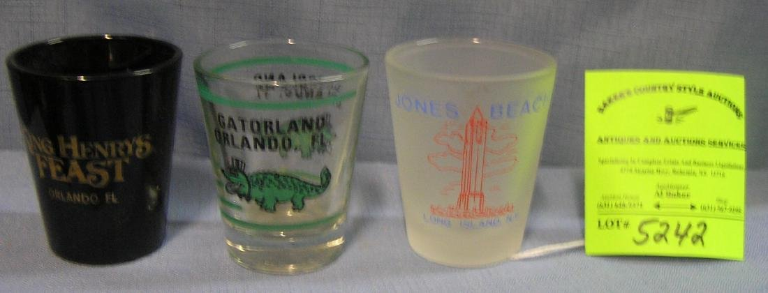 Group of three souvenir shot glasses