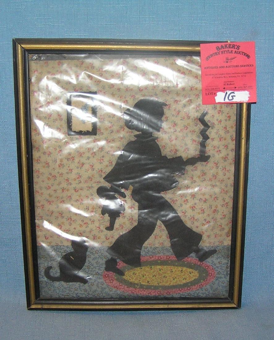 Antique silhouette style patchwork folk art piece