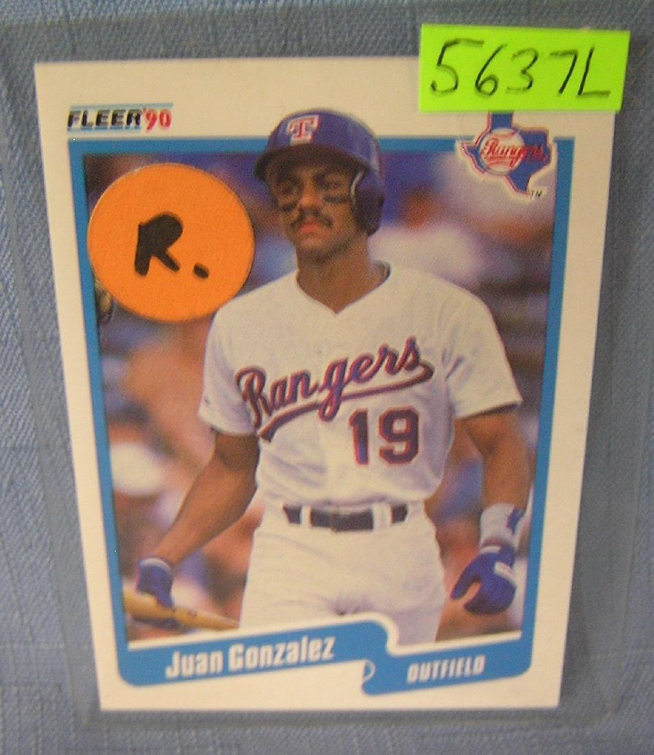 Juan Gonzalez rookie baseball card