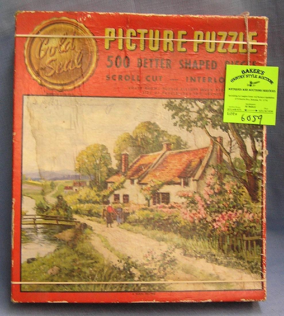 Vintage Gold Seal picture puzzle set with original box