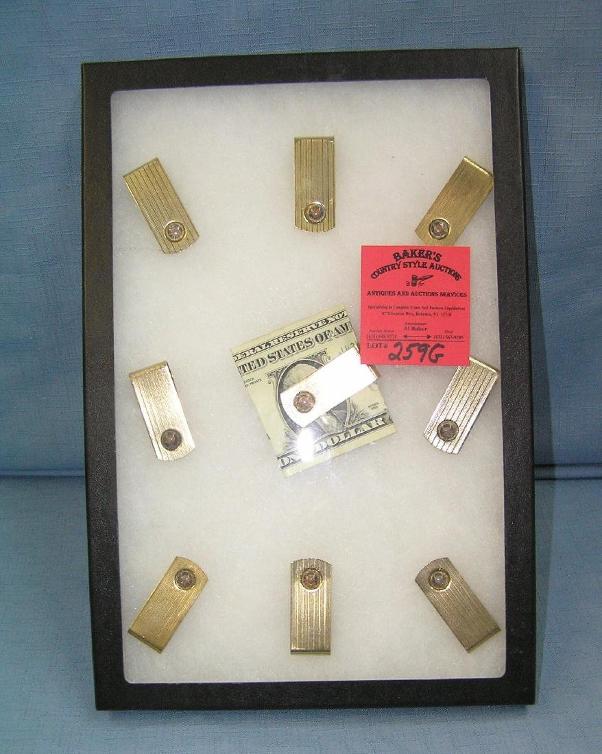 Collection of vintage gold plated money clips