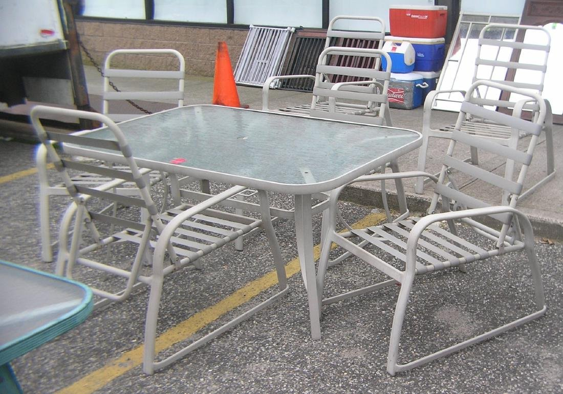 Outdoor patio and barbeque 7 piece table and chair set