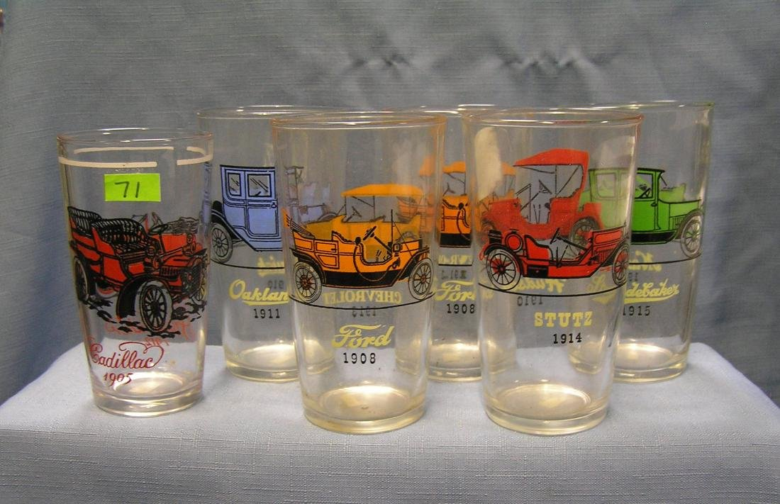 Antique automobile advertising drinking glasses