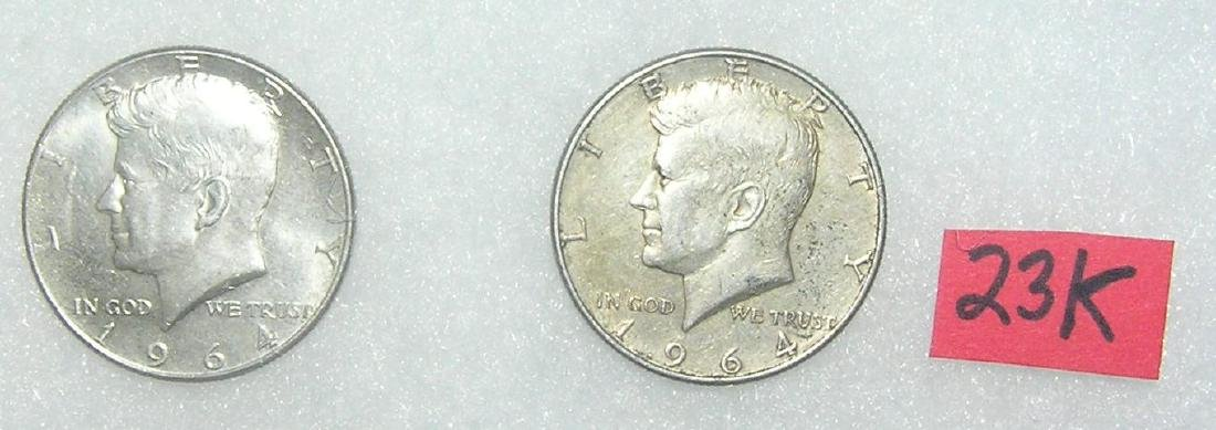 Pair of Kennedy silver half dollar coins