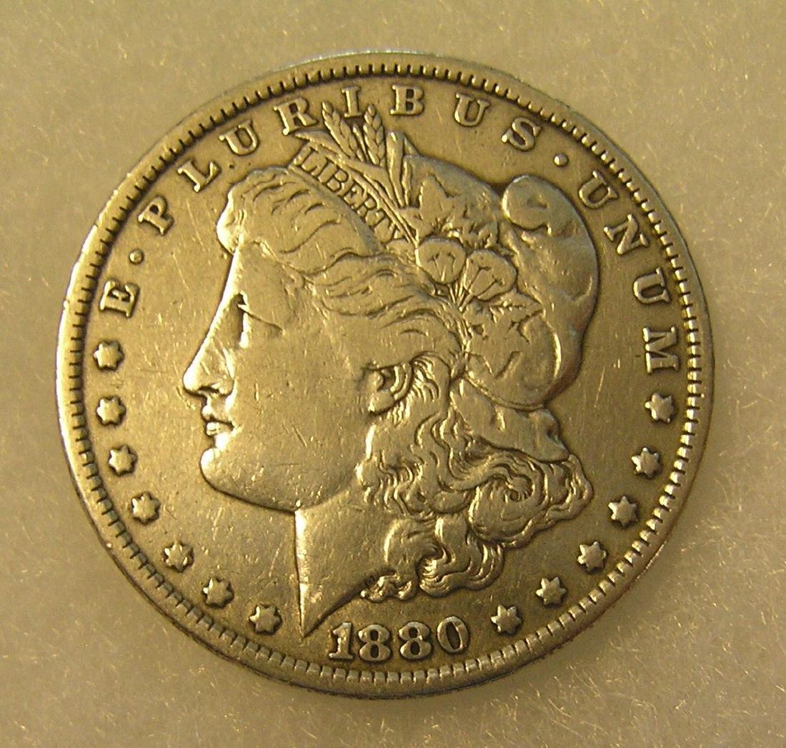 1880 Morgan silver dollar in extra fine condition
