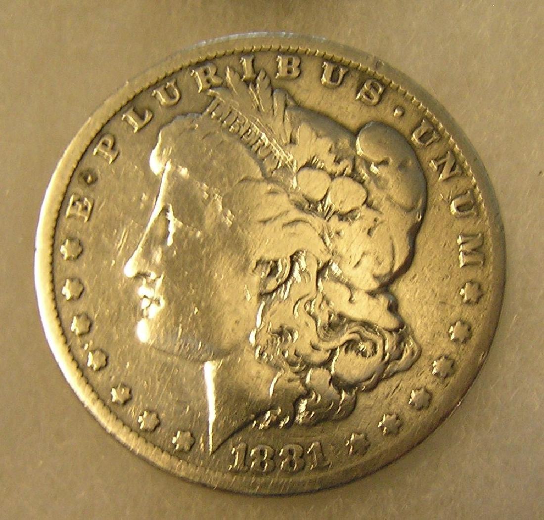 1881 Morgan silver dollar in fine condition