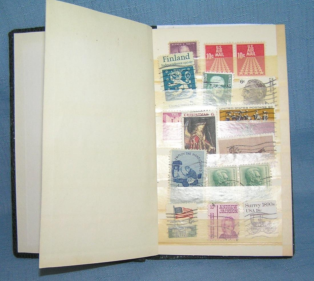 Stamp collector's stock book full of vintage stamps