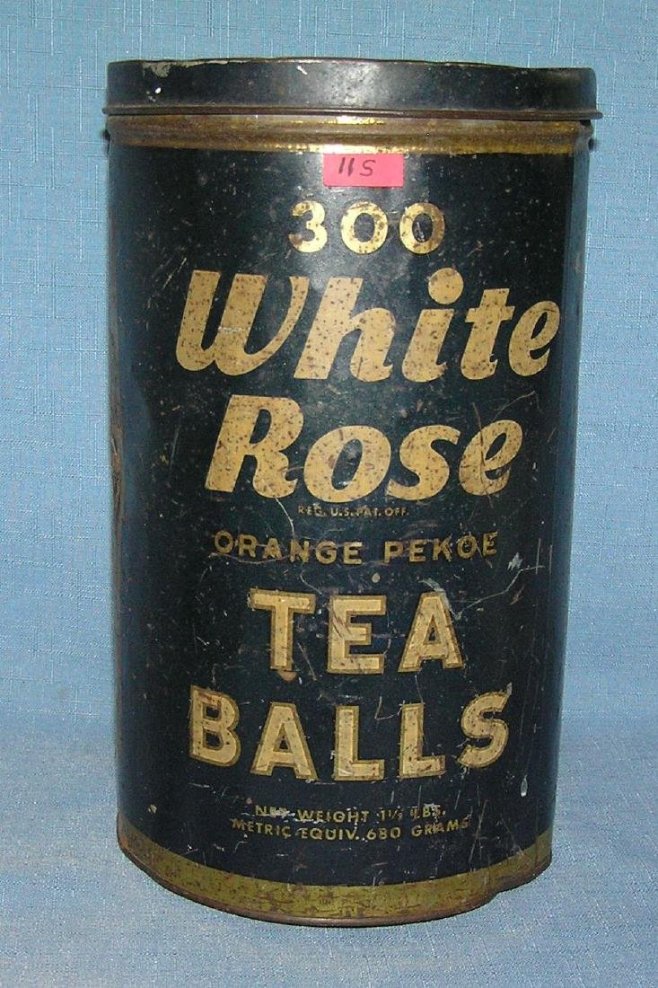 Antique White Rose tea tin