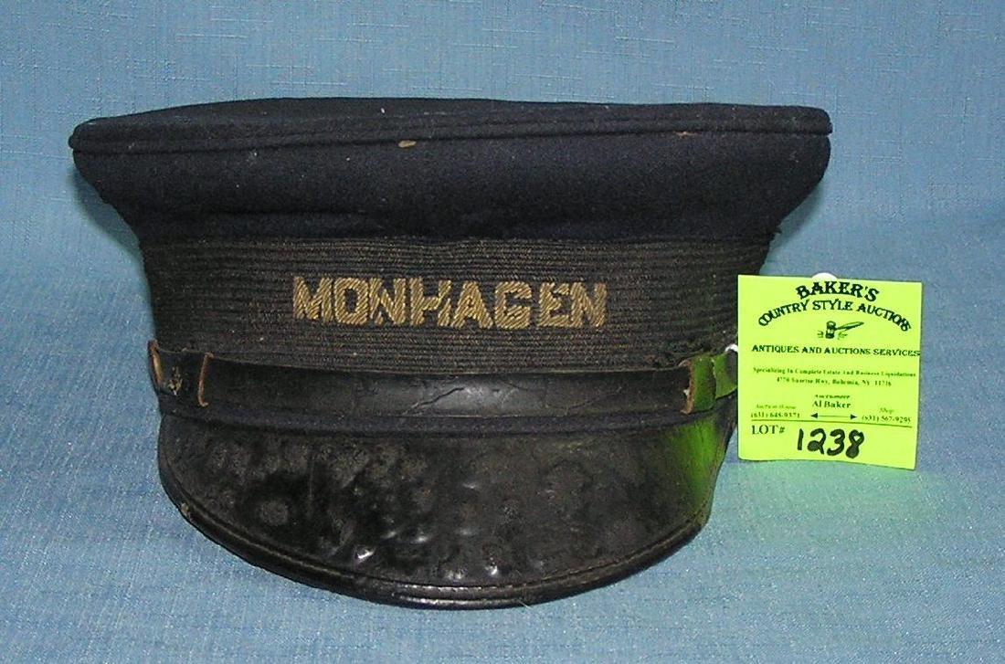 Early Monhagen rail road conductor's hat