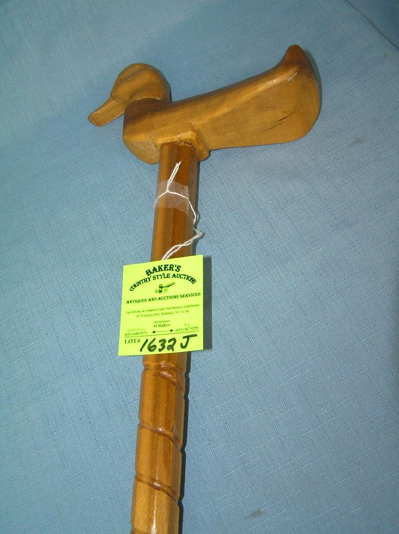 Hand carved duck shaped walking stick