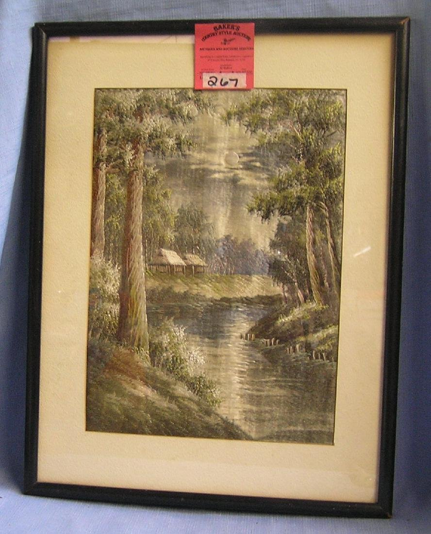 Antique hand stitched silk Asian themed art work