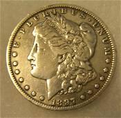 1897O Morgan silver dollar in fine condition