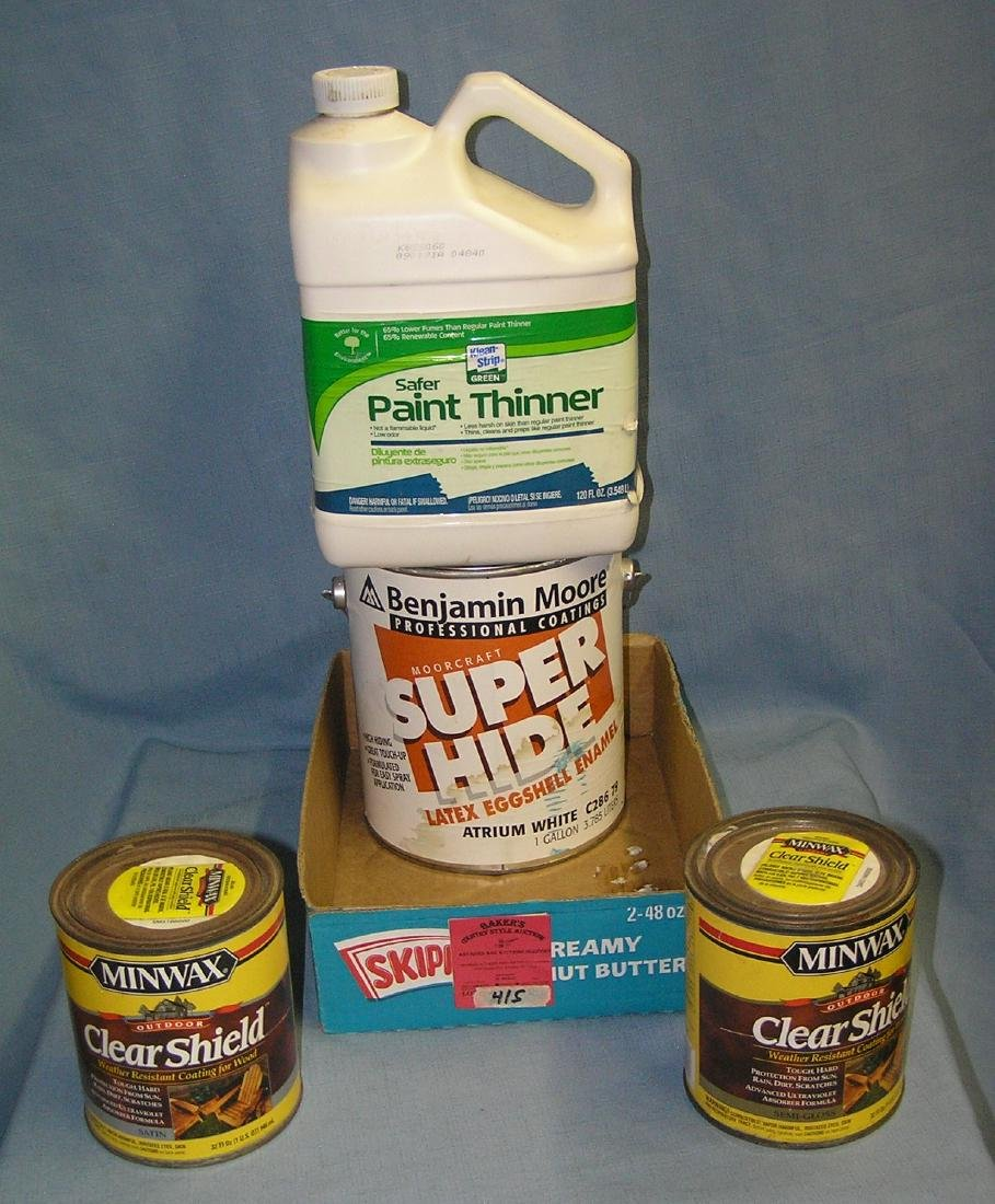 Box of paint, stain and supplies