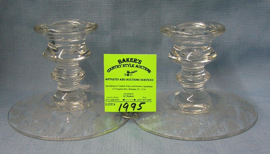 Pair of antique etched glass candle holders