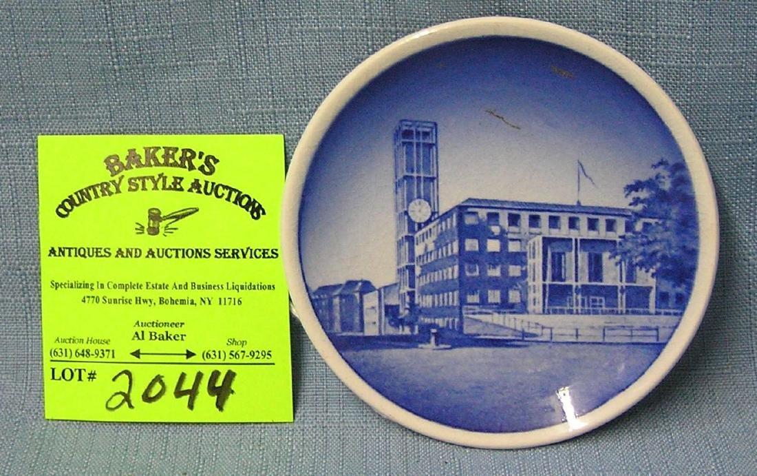 Vintage blue decorated souvenir plate