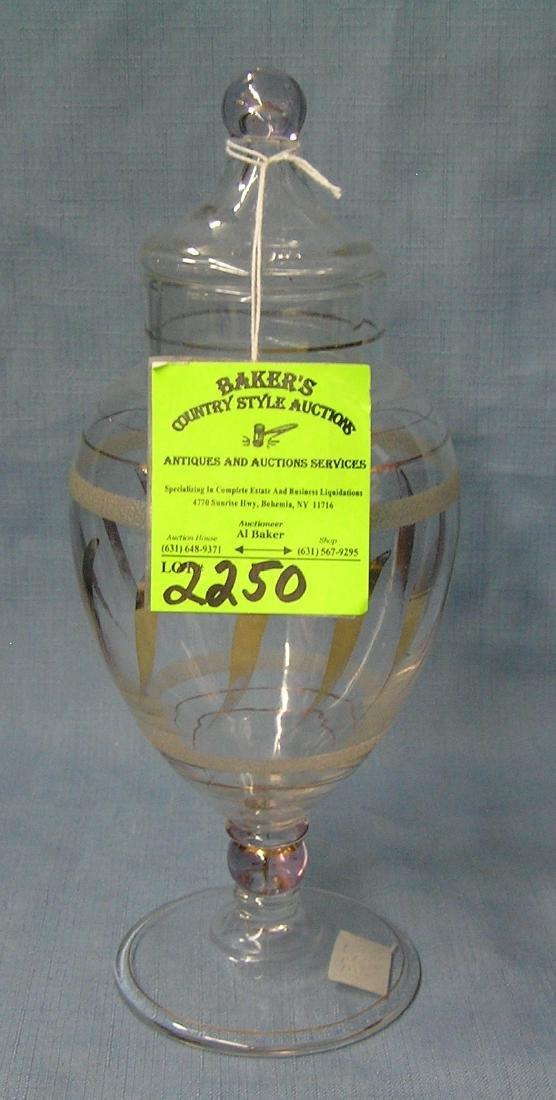 Vintage decorated art glass covered jar