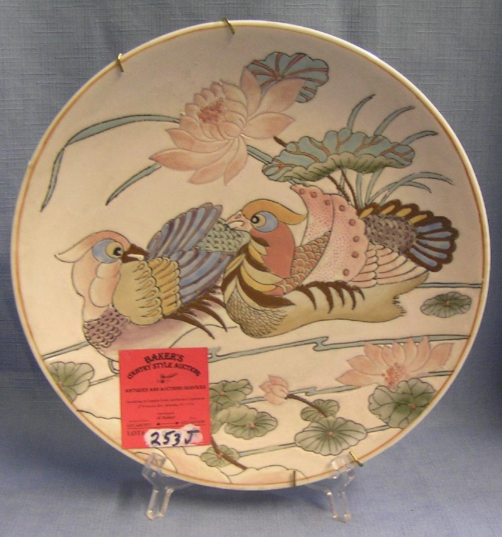 Bird decorated hand painted collector plate