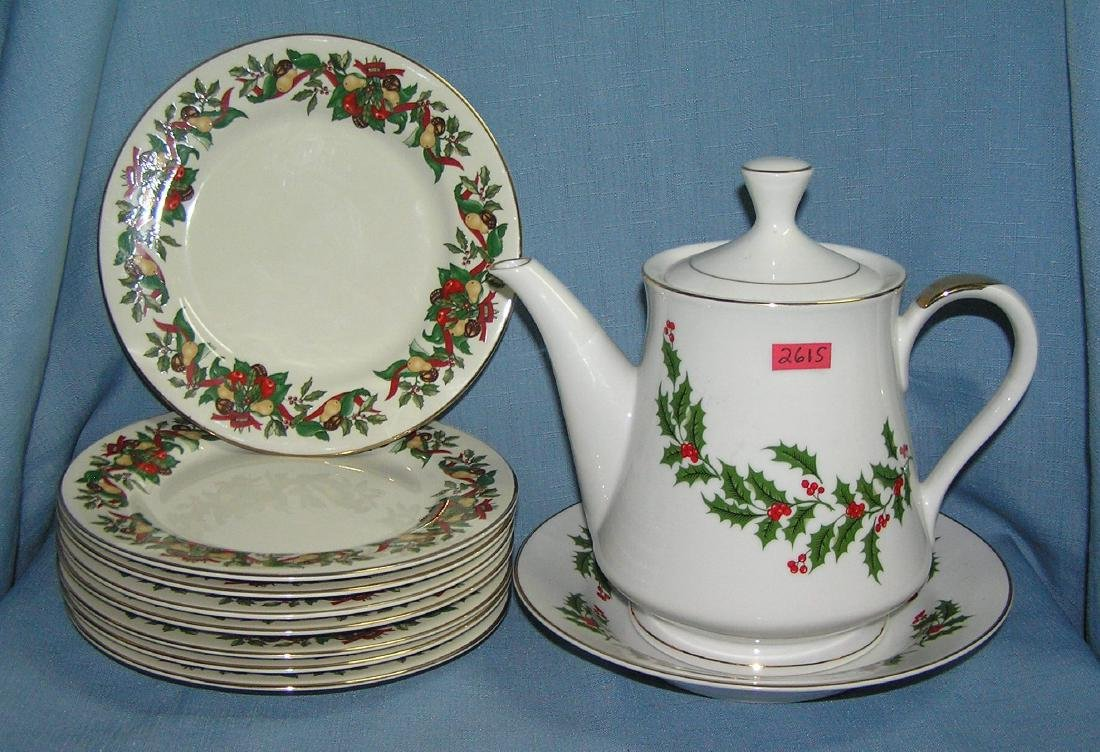Holiday decorated tea/coffee pot, bowl and plate group