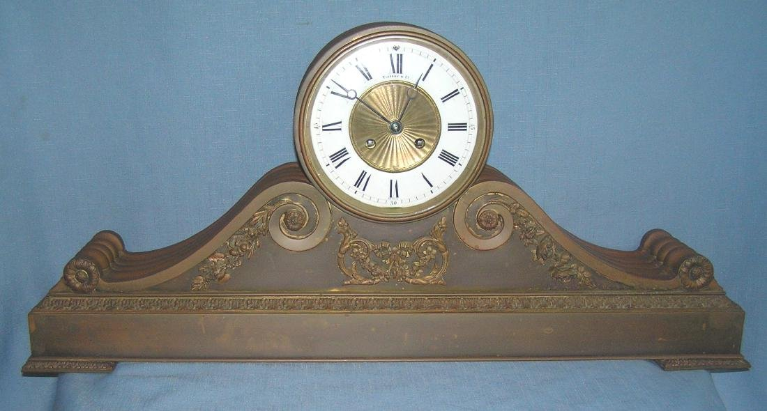 Great early Tiffany and Co. bronze mantle clock