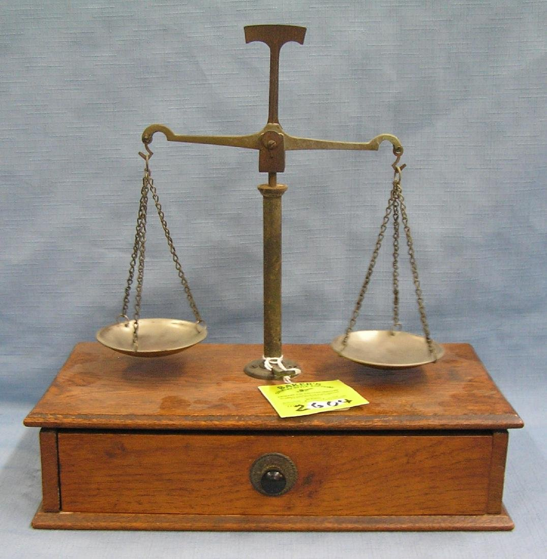 Antique jewelers scale all brass