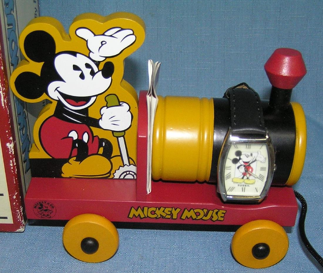 Mickey Mouse Fossil wrist watch and wood train - 2