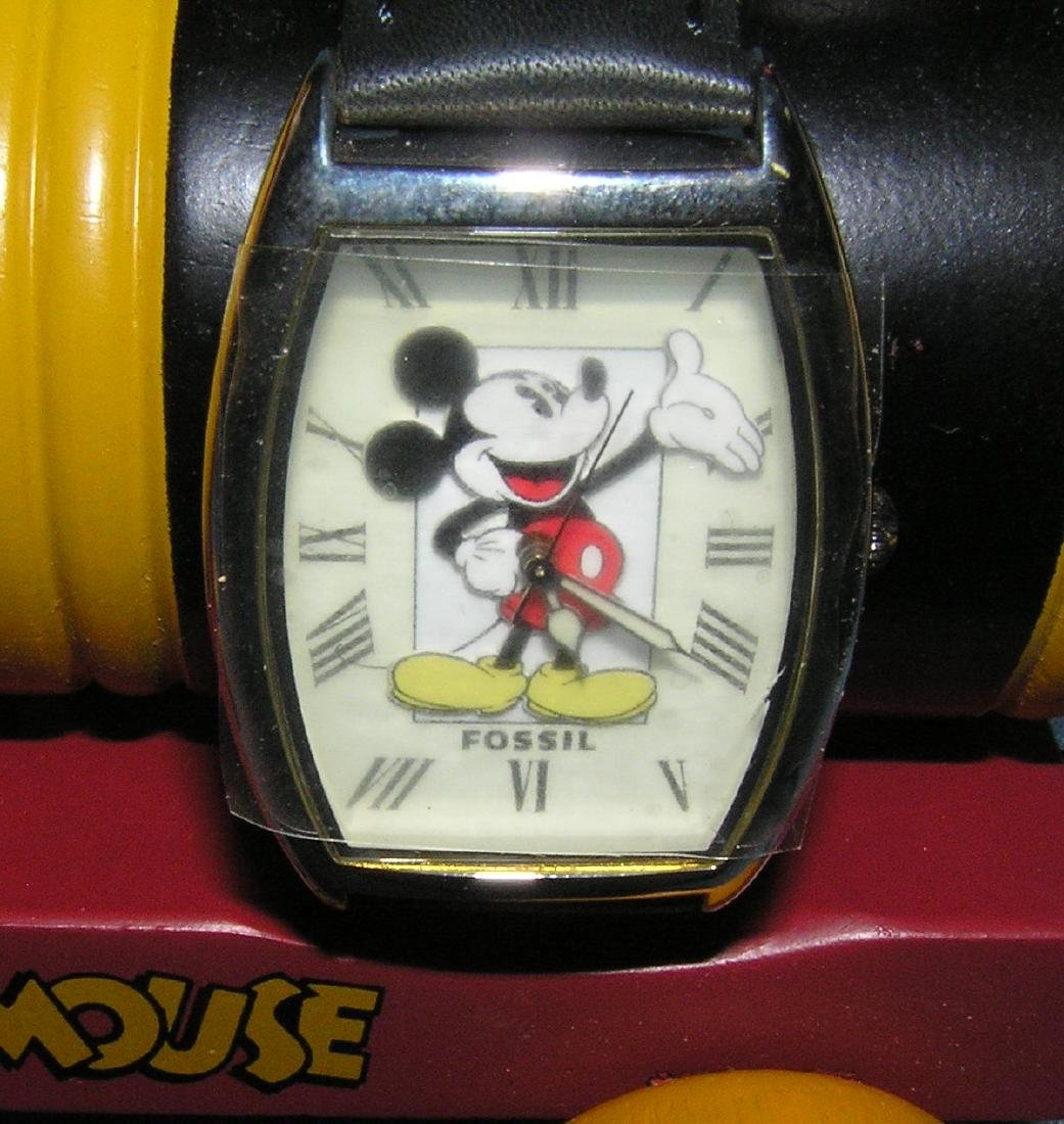 Mickey Mouse Fossil wrist watch and wood train - 4