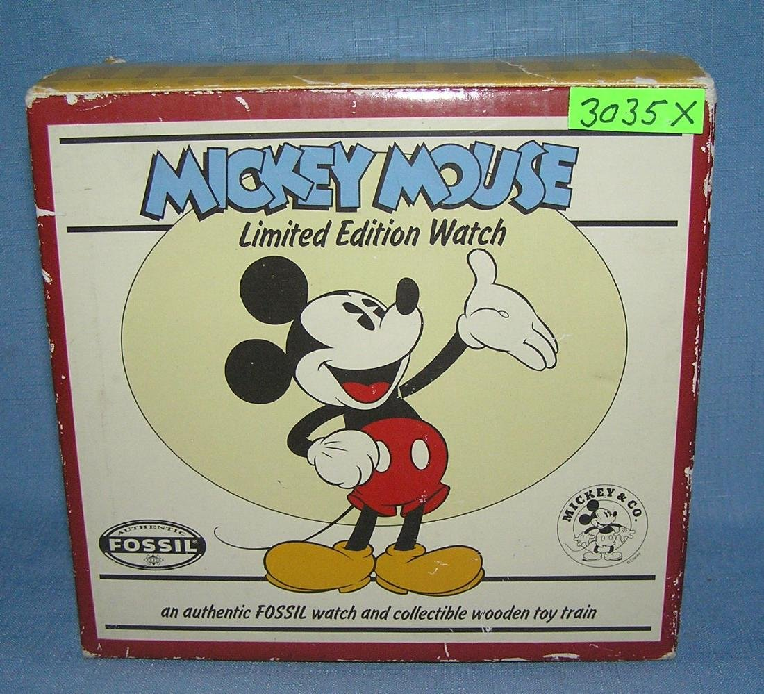 Mickey Mouse Fossil wrist watch and wood train - 5
