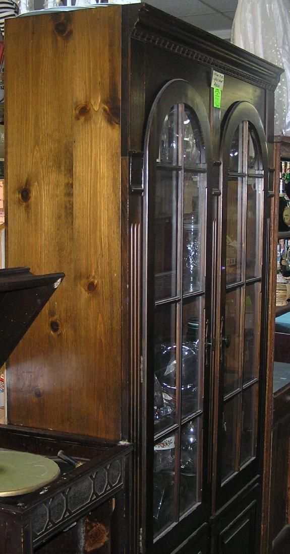 Large two door walnut illuminated china cabinet