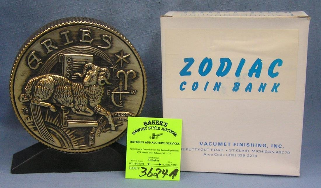 Vintage cast metal zodiac bank Aries
