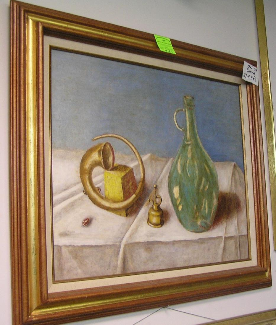 Oil on board still life painting
