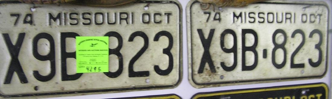 Pair of vintage Missouri license plates