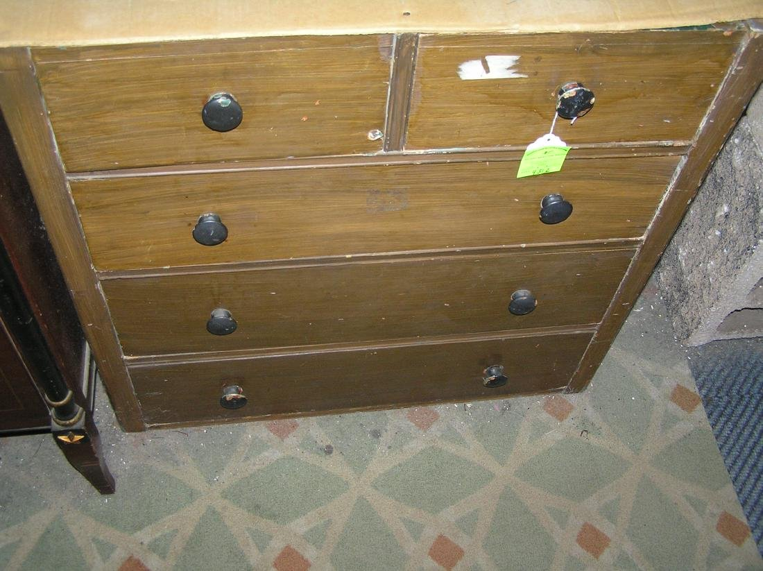 Antique five drawer chest - 4