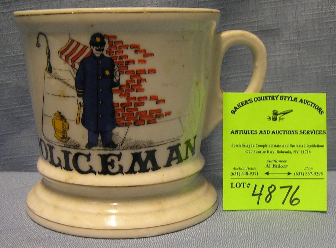 Vintage shaving mug titled Policeman