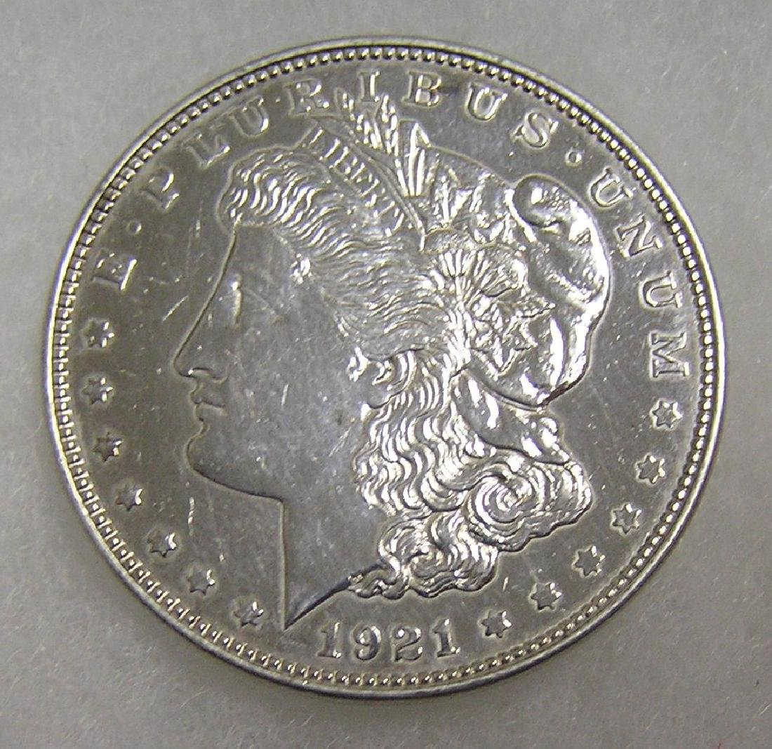1921 Morgan silver dollar in uncirculated condition