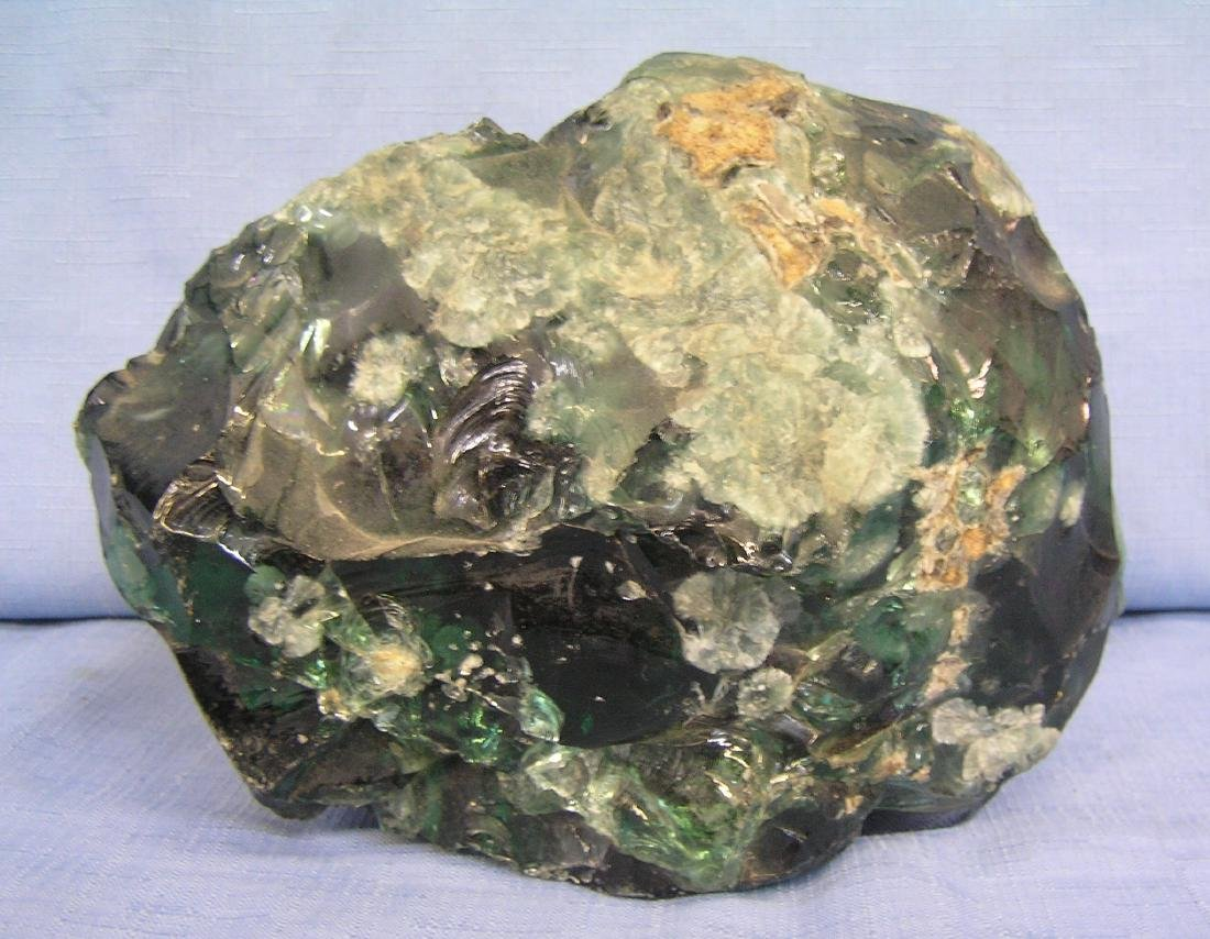 Large light to dark green mineral display piece
