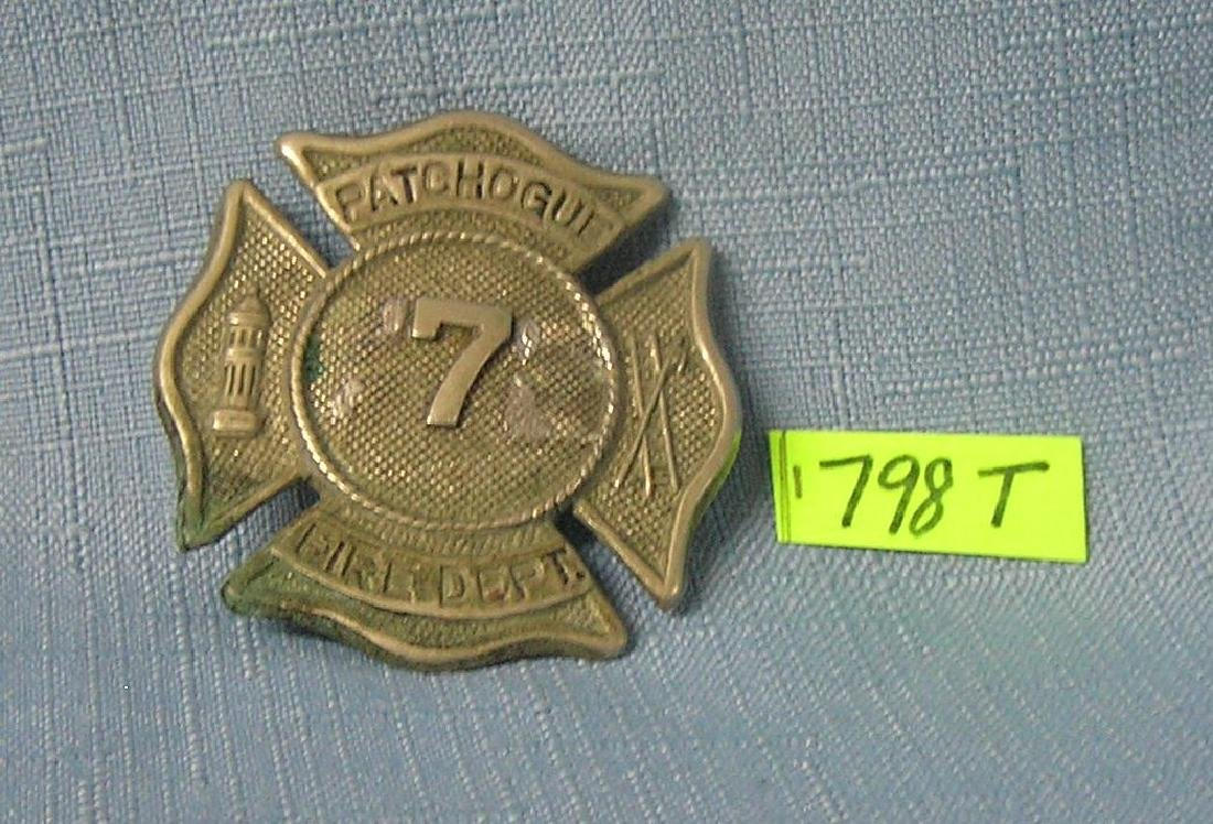 Antique Patchogue NY fire dept badge
