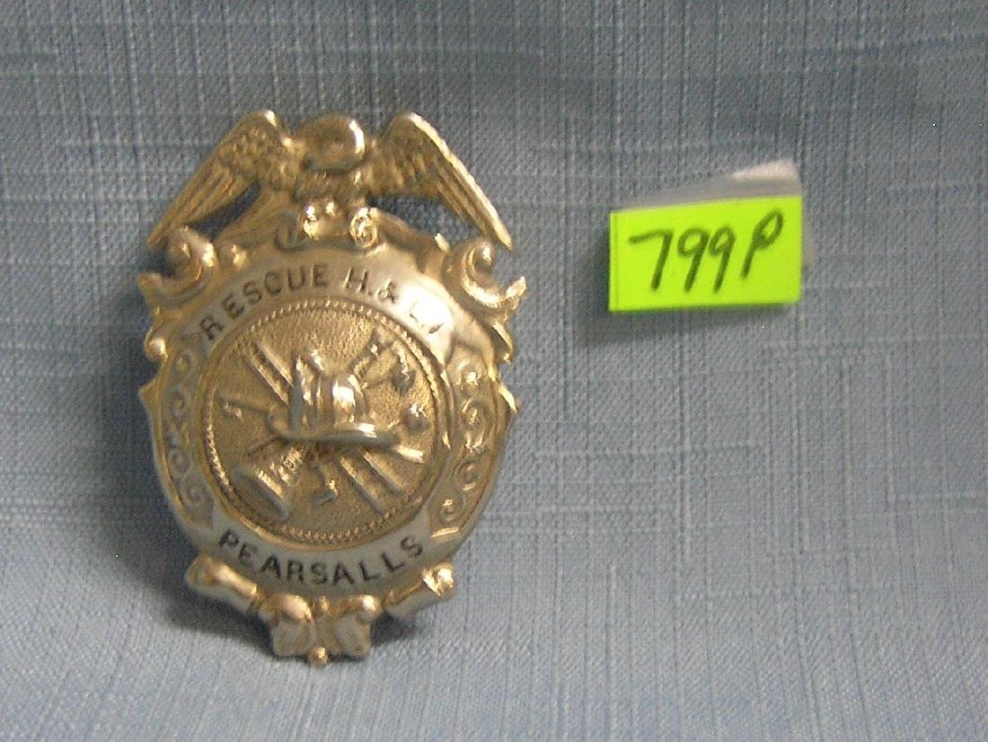 Early Pearsall's rescue hook & ladder #1 badge