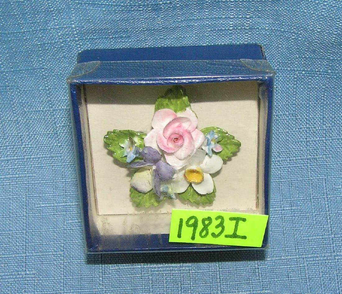 English bone china floral pin with original box