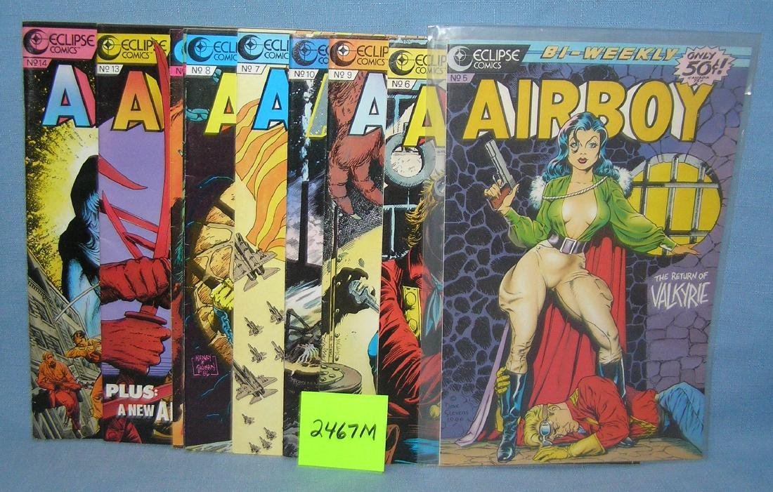 Group of vintage Air Boy comic books