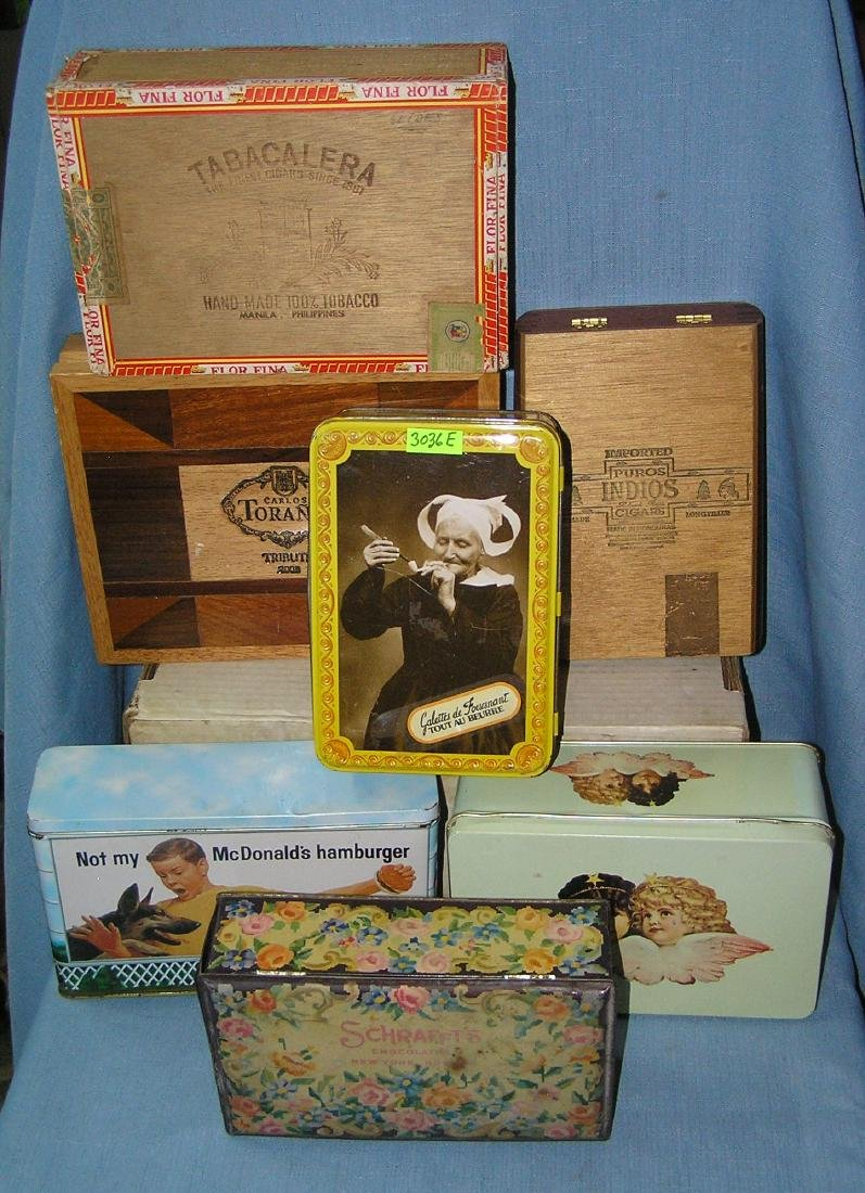 Large group of advertising tins and cigar boxes
