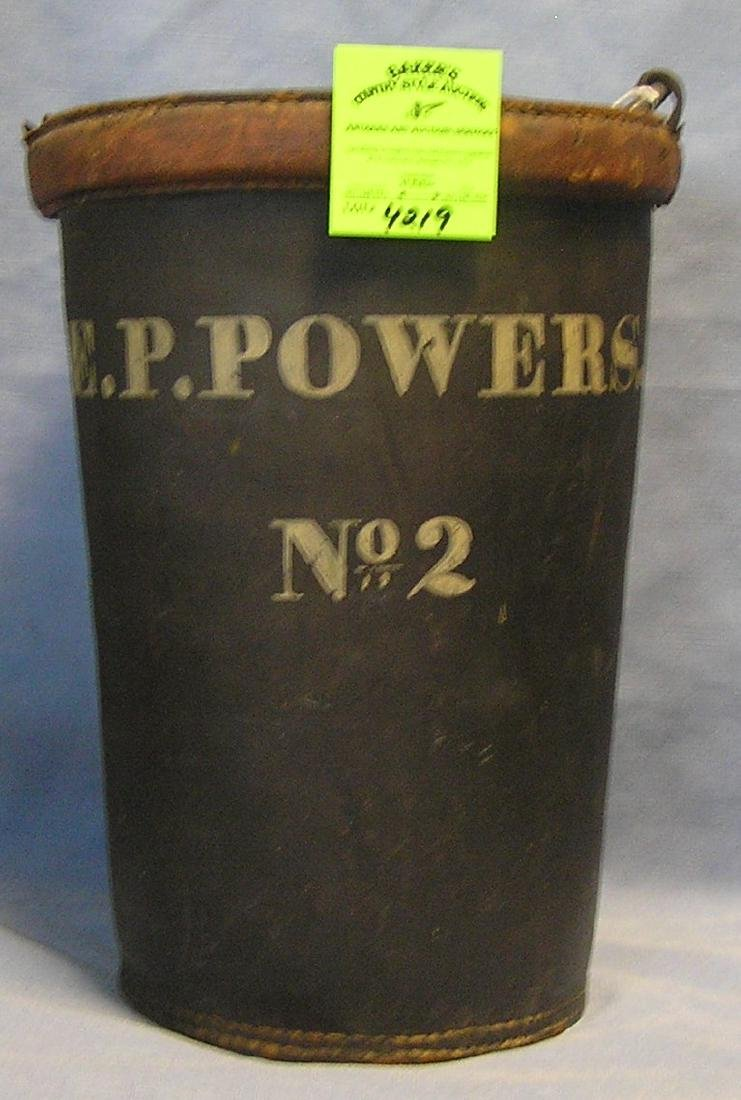 Antique leather fire bucket marked E.P. Powers