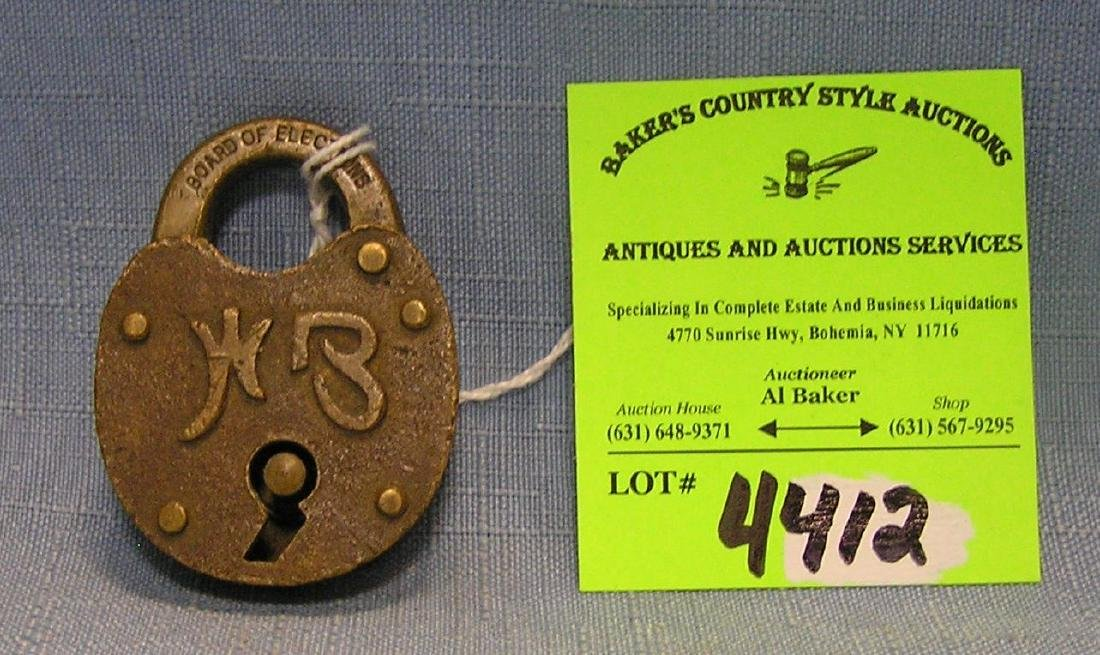Early solid brass Board of Elections padlock