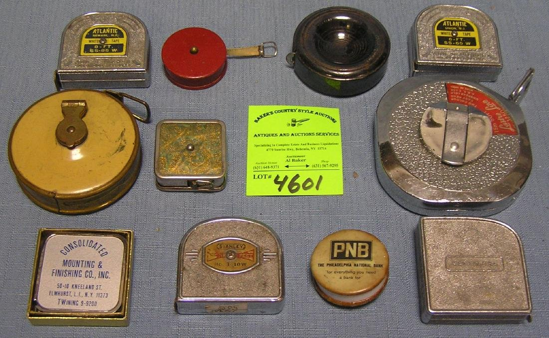 Vint.tape measures many w/ famous Co. names