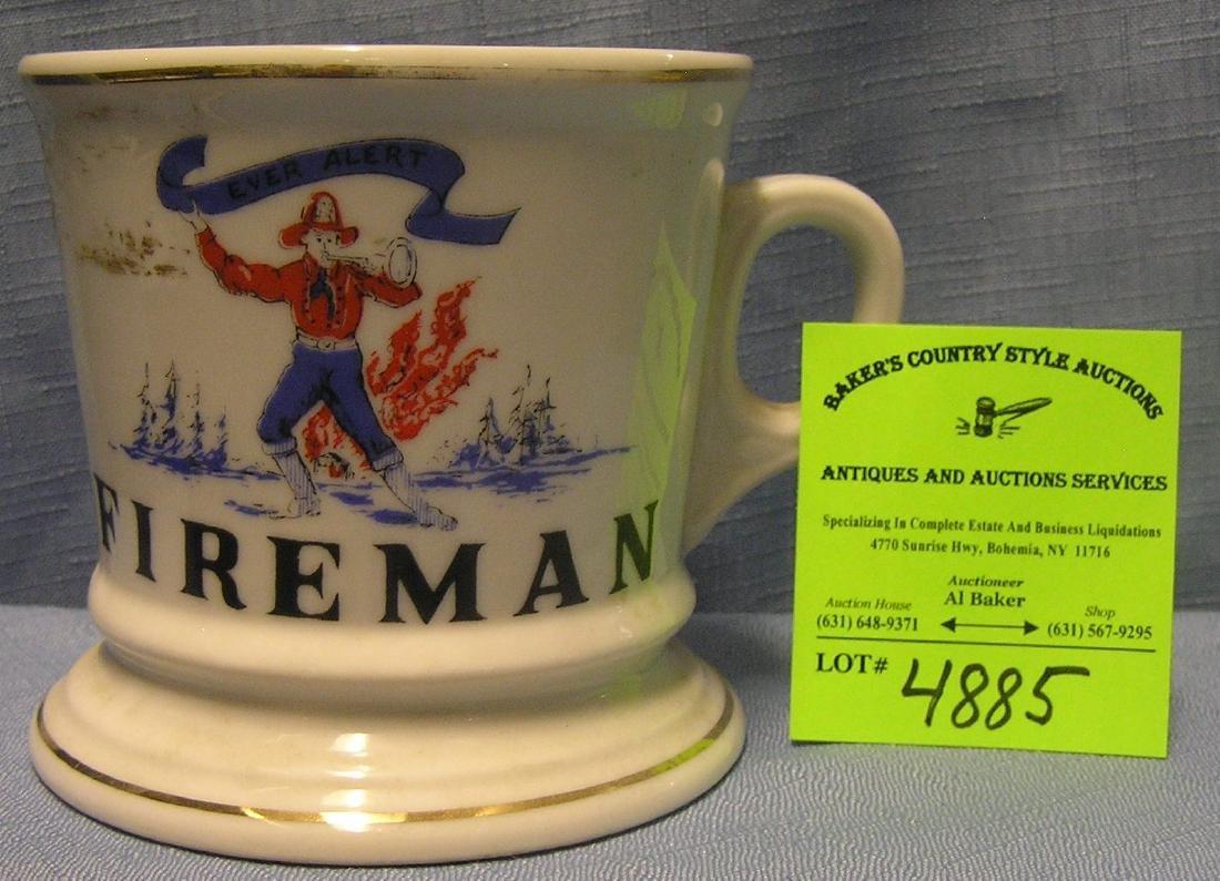 Vintage shaving mug titled fireman