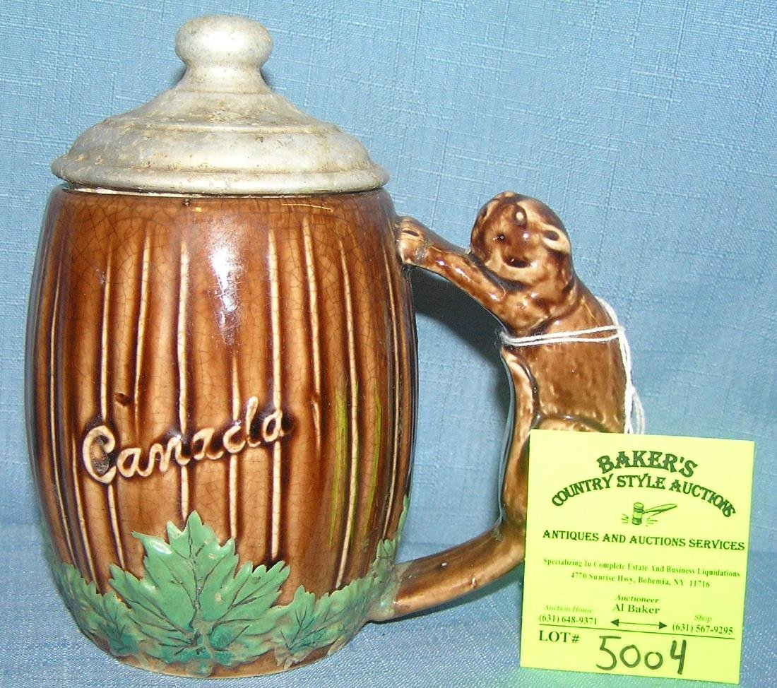 Early Canadian decorated beer mug
